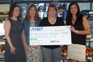 Pictured left to right: Megan Townley, MSO Director Operations & Program Management, Patricia Brussel, Northern Regional Director for the Emmanuel Cancer Foundation, Pepper Treuvey, MSO Corporate Secretary and Senior Product Development Analyst, and ECF Volunteers, Carole Garmendia & Maureen Lee.